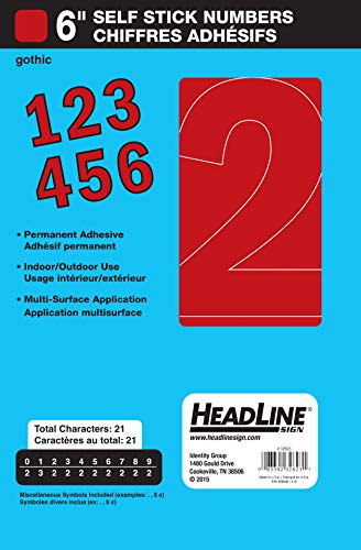 Headline Sign 32623 Stick-On Vinyl Numbers, Red, 6-Inch (Vinyl Red Numbers)