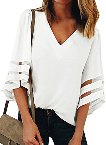 Angels Womens White Tank Top - BLENCOT Womens Juniors White Chiffon Blouse Shirt 3/4 Bell Sleeve Deep V Neck Patchwork Summer Casual Tops XL