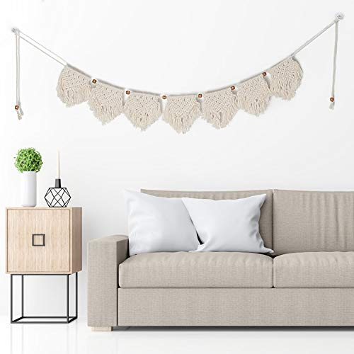 Tasera Macrame Woven Wall Hanging, Boho Wall Hanging Woven Wall Hanging Tapestry Fringe Garland Banner Beautiful Apartment Dorm Room Decoration