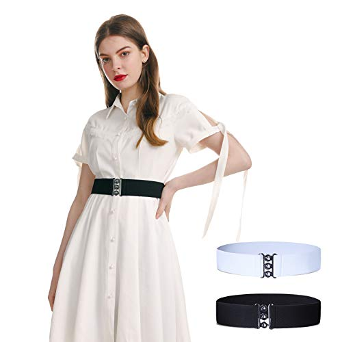 AWAYTR Wide Stretchy Belts for Women - Retro Elastic Dress Belt with Metal Buckle, 2 pieces (30