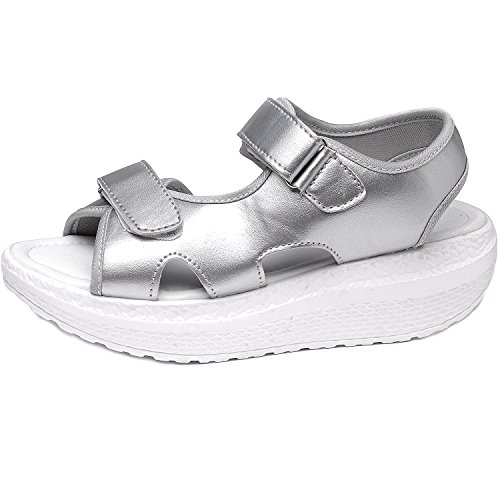 Women Summer Open Toe Platform Wedge Open Peep Chunky Ankle Strap Comfortable Walking Shoes Silver XhmIYWXcEV