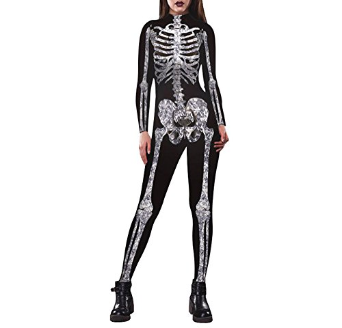 Savers Costume Commercial (Halloween Costume Women's Adult Skelee Girl Sexy Tights Costume Black L)