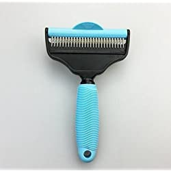 Donemax Dog Brush & Cat Brush, 2 in 1 Grooming Kit for Dogs and Cats, Effective Double Sided Steel Deshedding Tool, Blue