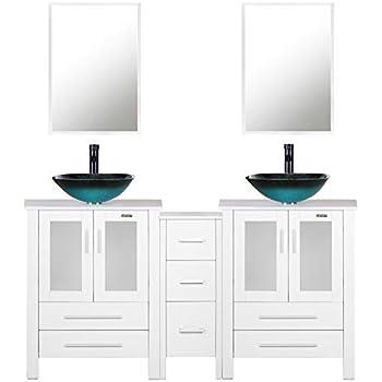 60 Quot White Bathroom Vanity Double Vanity Round Glass