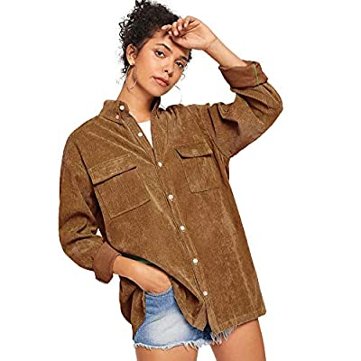 ROMWE Women's Collar Button Down Roll up Long Sleeve Casual Jacket Outwear with Front Pockets: Clothing