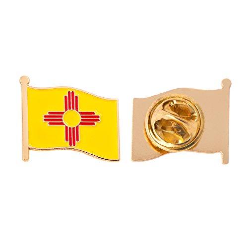New Mexico NM State Flag Lapel Pin Enamel Made of Metal Souvenir Hat Men Women Patriotic (Waving Flag Lapel Pin)