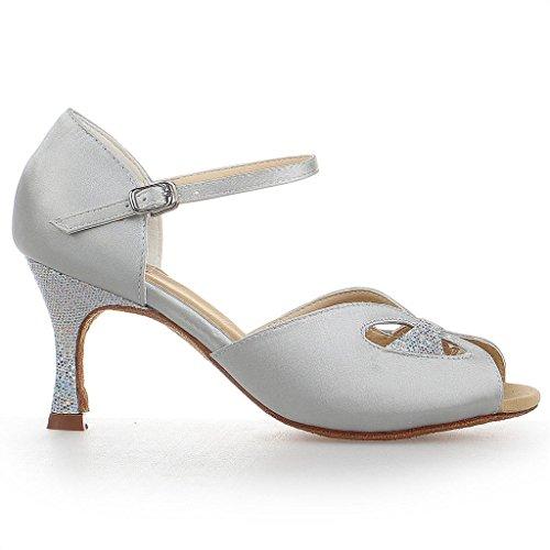 Latine Danse Satin Jia De Chaussures Argento Y2053 BqSIg