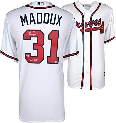 Greg Maddux Atlanta Braves Autographed Majestic White Replica Jersey with HOF 2014 Inscription - Fanatics Authentic ()
