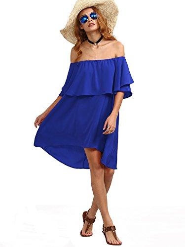 Romwe Women's Off The Shoulder Ruffle Casual Loose Shift Dress Blue XS