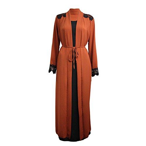 5fcef8b282 Miss Trendy Womens Ladies Long Kimono Dress Abaya Open Abaya Maxi Style  Lace Belted