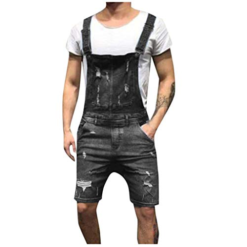 iHPH7 Shorts Men Ripped Denim Shorts Men Overall Casual Jumpsuit Jeans Wash Broken Pocket Trousers Suspender Pants XXXL 3- Black
