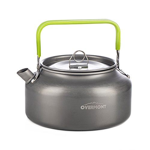 Overmont Aluminum Outdoor Kettle with Silicon Handle - 1.2L