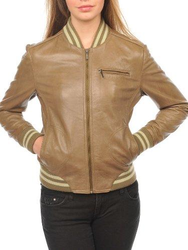 Style Vintage Taille Blouson Kaki 40 Arturo Cuir Teddy College Couleur Tendance Femme I7X4S