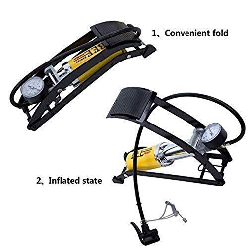 Portable Bike Pump, Floor Foot Pump Aluminum Body High Pressure Air Pump Foot Inflator Foot pump with Gauge Smart Valve Head for Tire, Bike, Car, Motorcycle, Footable, Basketball