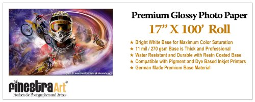 """17"""" X 100' Roll Premium Glossy Photo Paper 270G 11mil [Office Product]"""