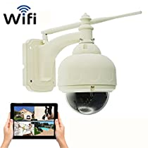 Coolcam Wireless PTZ Outdoor WiFi Security Camera IR Night Vision, Motion Recording, Free Local Recording with Built-in 8GB Memory (Record up to 30 days)