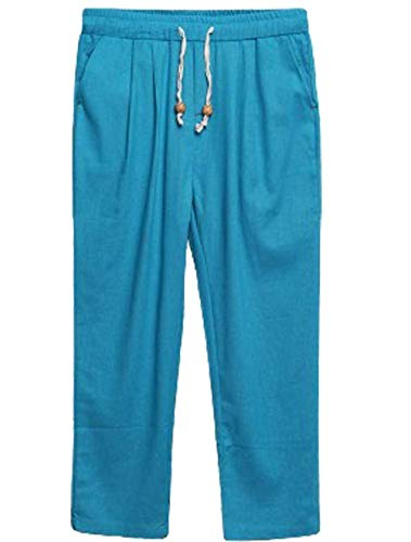 Pants Blau1 Lino Pants Pantalones Sueltos Pantalones Chino Cintura ADELINA Elástica con Casual Harem Vintage De Cargo Fashion Ropa Men's Jogger Cordón qwCT0RS