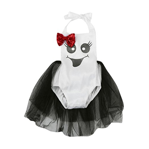 Costume Dress, Misaky Halloween Baby Girls Sequin Bow Print Romper for 6-24M (Tag 70/ 3-6M, White) (Sequins Tags)