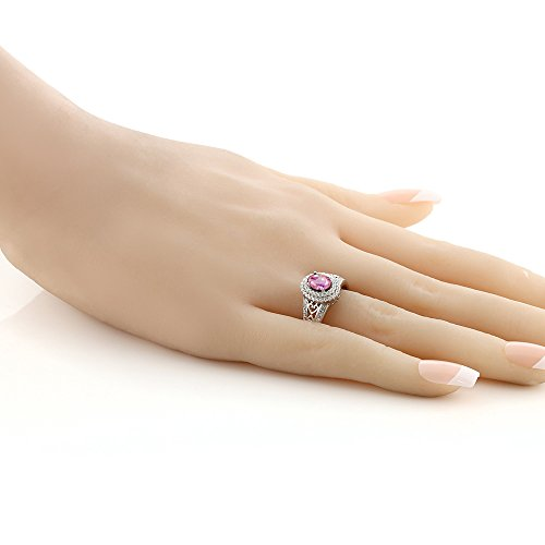 1.41 Ct Oval Pink Sapphire 925 Sterling Silver Ring by Gem Stone King (Image #3)