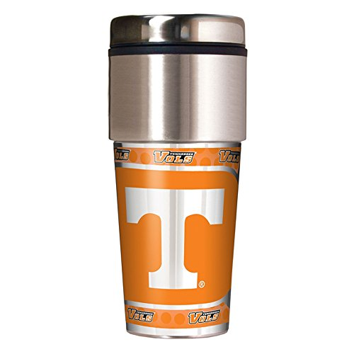 (NCAA Tennessee Volunteers Travel Tumbler with Metallic Wrap, 16 oz, Silver)