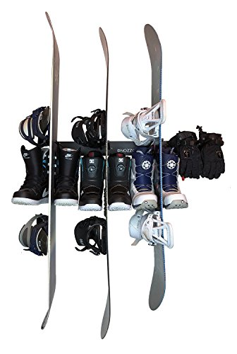 Wall Mount Organizer Rack With 8 Hooks | Heavy Duty, Durable, Sturdy, Mountable & Multipurpose | For Snowboards, Skis, Snowshoes, Poles, Sports, Drying, Storage, Tools & More -Nozzco