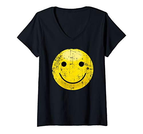 Womens Vintage Smiley Face Shirt - Smile Face Happy 80s Vibe Yellow V-Neck T-Shirt