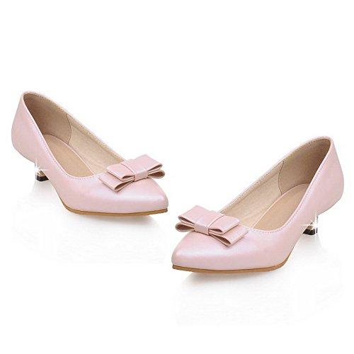 VogueZone009 Damen Spitz Zehe Ziehen auf PU Leder Niedriger Absatz Pumps Schuhe Pink