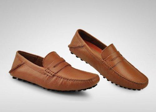 Happyshop (tm) Herenleren Zachte Mocassin Loafers Voor Heren Casual Rij-schoenen Slip-on Penny Flats Brown