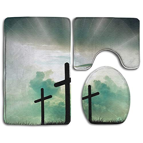 - Christian Jesus Blessed Cross Family Flannel Non-Slip Bathroom Rug Mats Set 3 Piece Washable Contour Rug and Lid Cover