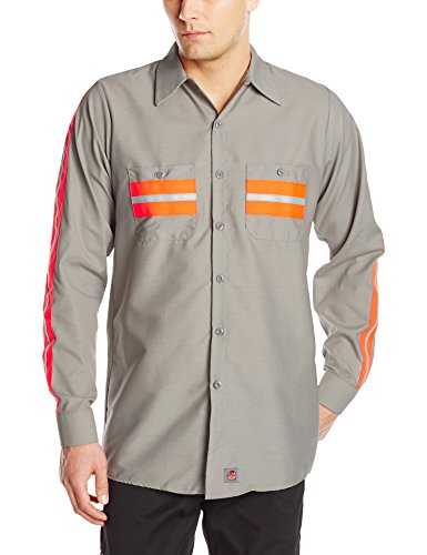 (Red Kap Men's Enhanced Visibility Shirt, Light Grey with Trim,  Large )
