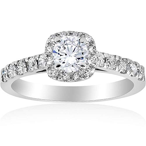 1ct Cushion Halo Diamond Engagement Ring 14K White Gold - Size 8 (Carats Cushion Engagement Ring)