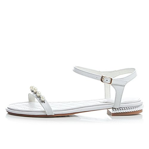 Heels Toe Low White Ladies Soft 1TO9 Material Sandals Open WqURnWwI