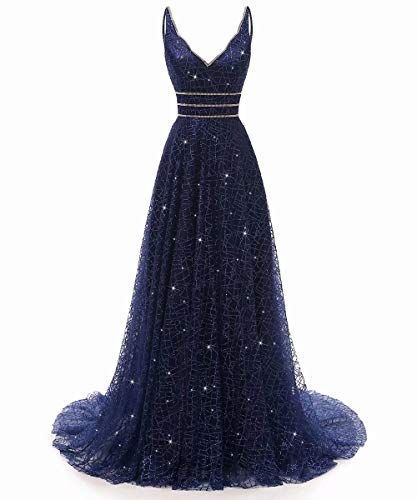 (RJOAM-Prom Dresses Long Beaded Deep V-Neck&Back Sparkling Princess Tull Dresses 2019 Party Night Evening Gown Navy)