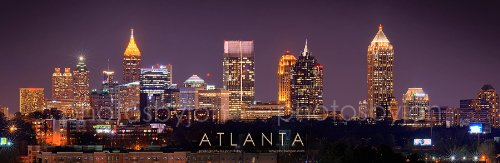 - Atlanta Skyline PHOTO PRINT UNFRAMED NIGHT COLOR Downtown Midtown City 11.75 inches x 36 inches Photographic Panorama Poster Picture Standard Size