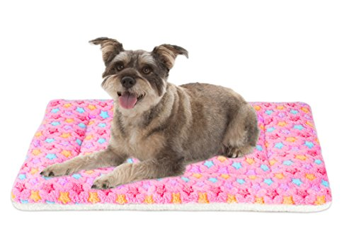 Mora Pets Ultra Soft Pet (Dog/Cat) Bed Mat Cute Prints | Reversible Fleece Dog Crate Kennel Pad | Machine Washable Pet Bed Liner (24-inch, Pink)