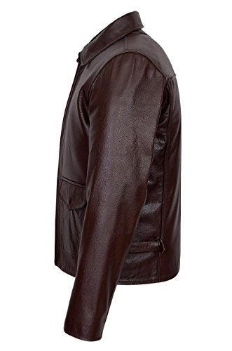 Pelle In Indiana Film New Brown Giacca Uomo Jones Stile Reale Bovina Di 5dUqwz4w