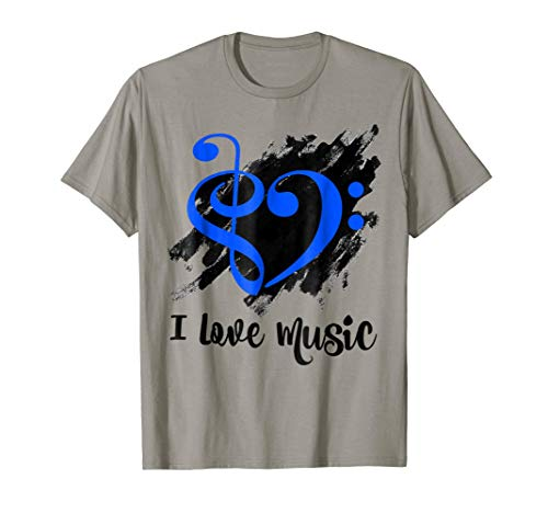 Treble Clef Bass Clef Royal Blue Heart I Love Music Bassist T-Shirt
