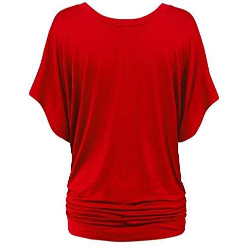 Shirt Hawaienne Femmes Challeng Blouse Casual Soiree Rouge Plus La V Couleur Neck Chic Deep Casual Chemise Noir Taille Pure Top T Femme 0Bw0Yq7