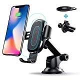 Wireless Car Charger, Baseus 2-in-1 Dashboard and Air Vent Gravity Phone Holder Car Mount 10W Charge for Samsung Galaxy S8, S7/S7 Edge, Note 8 5, Standard 5W Charge for iPhone X, 8/8 Plus