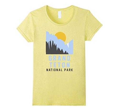 set Vintage Grand Teton National Park Shirt Small Lemon (Ladies Throw)