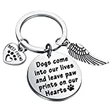 Dog Memorial Gifts Loss of Dog Keychain Sympathy Gift Memorial Jewelry Dog Bereavement Gifts Dog Owner Gifts Angel Charm (Silver)