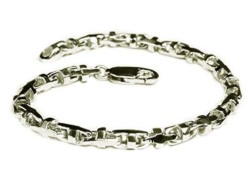 14k Solid White Gold Anchor Mariner Link Chain Bracelet 4 MM 13 grams 7.5