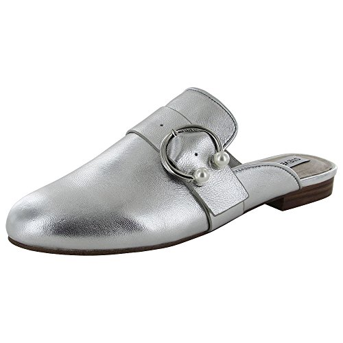 Steve Madden Womens Hilary Loafer Mule Shoes Silver Leather