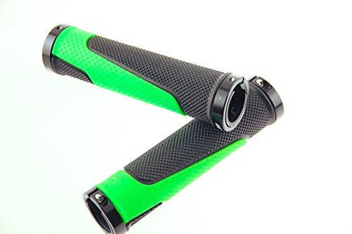 Fuji Lock-On MTB Bike Handlebar Flat Bar Grips Green/Black Krayton Rubber NEW