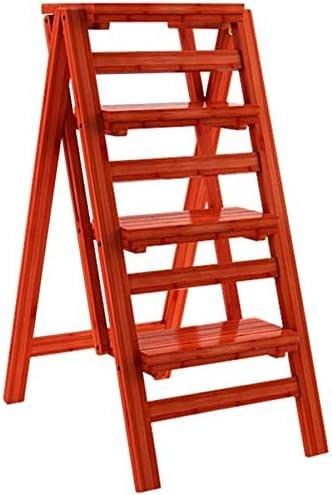 DY Escalera Plegable con 4 Pasos de Plegado, de Madera del hogar Escalera heces, heces extendido Alta for niños y Adultos, Altura de los 68cm Jardín Intensivo Uso MAX.150 Kg En Red: