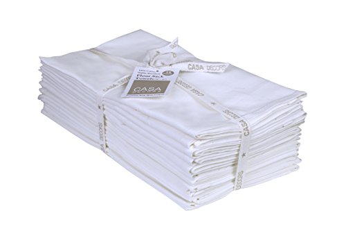 Flour Sack Towels, Set of 12 ( 28 x 28 Inches ) , Multi-use Off-White Kitchen Towels, 100 % Cotton , Highly Absorbent , Tea towels for embroidery, Flour sack dish towels By CASA DECORS by CASA DECORS