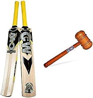 CW Batte de Cricket 2 pièces Combopack Cachemire en Saule Predator Shaw pour Adulte avec maillet en Bois Double Face