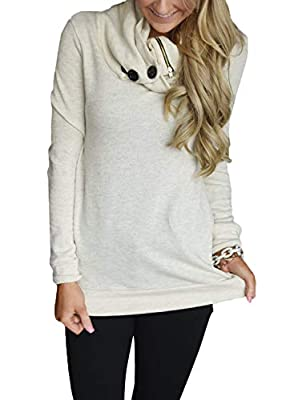 Happy Sailed Women Cowl Neck Button Long Sleeve Casual Tunics Hoodie Autumn Sweatshirts