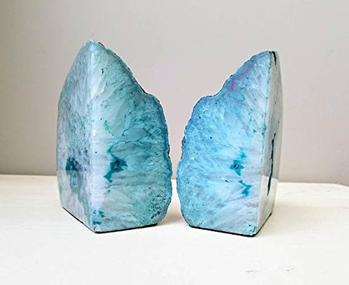 Dream Gem: Polished Agate Stone Bookends Pair (Green, 5-6LBS) (Stone Green Agate)