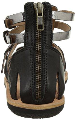 Kickers Spartiaten - Sandalias de Vestir de cuero mujer Noir (Noir Argent)